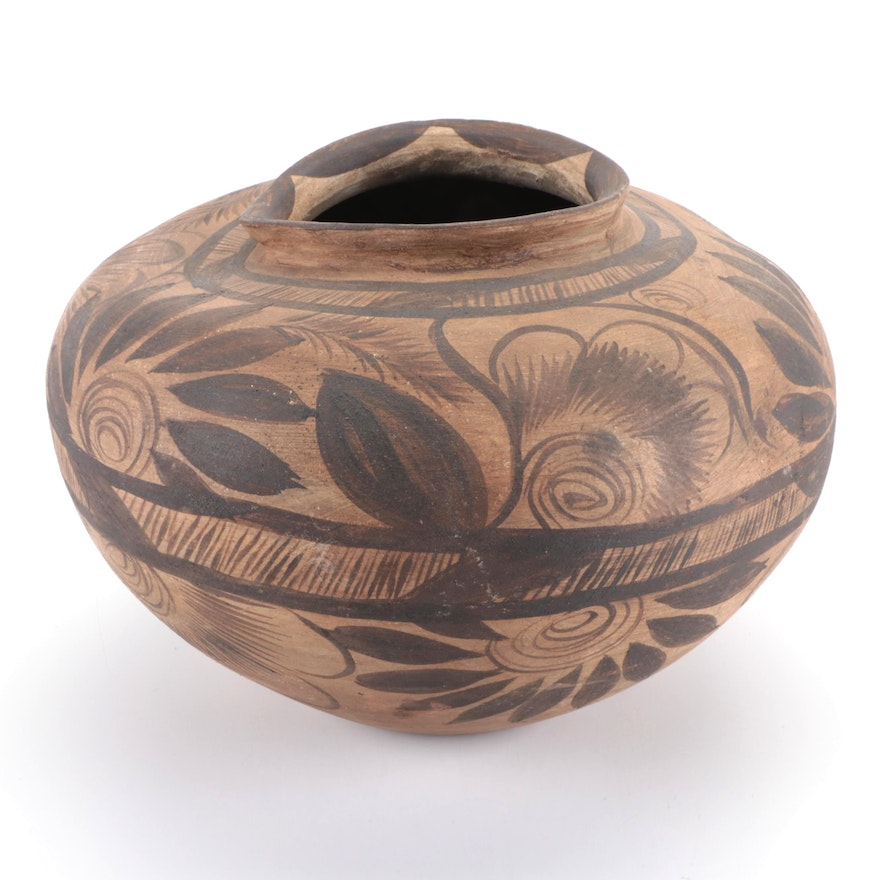 Mexican Wheel Thrown Hand-Painted Floral Motif Pottery Vase