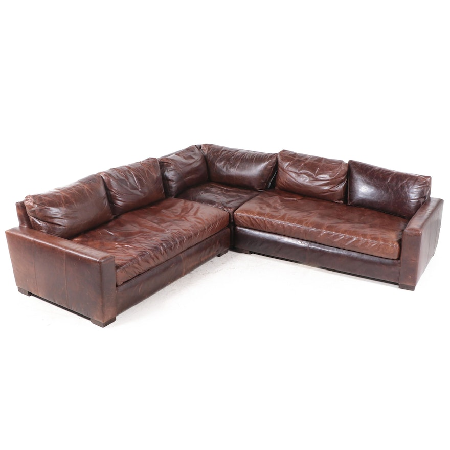 """Three-Piece Restoration Hardware """"Maxwell"""" Brown Leather L-Sectional Sofa"""