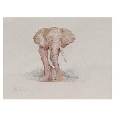 "Artyom Abrahamyan Watercolor Painting ""Elefant,"" 21st Century"
