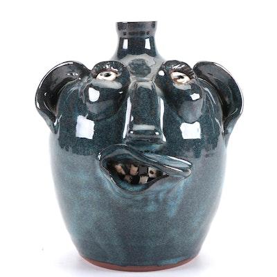 Pond Mountain Pottery Earthenware Face Jug, 2006