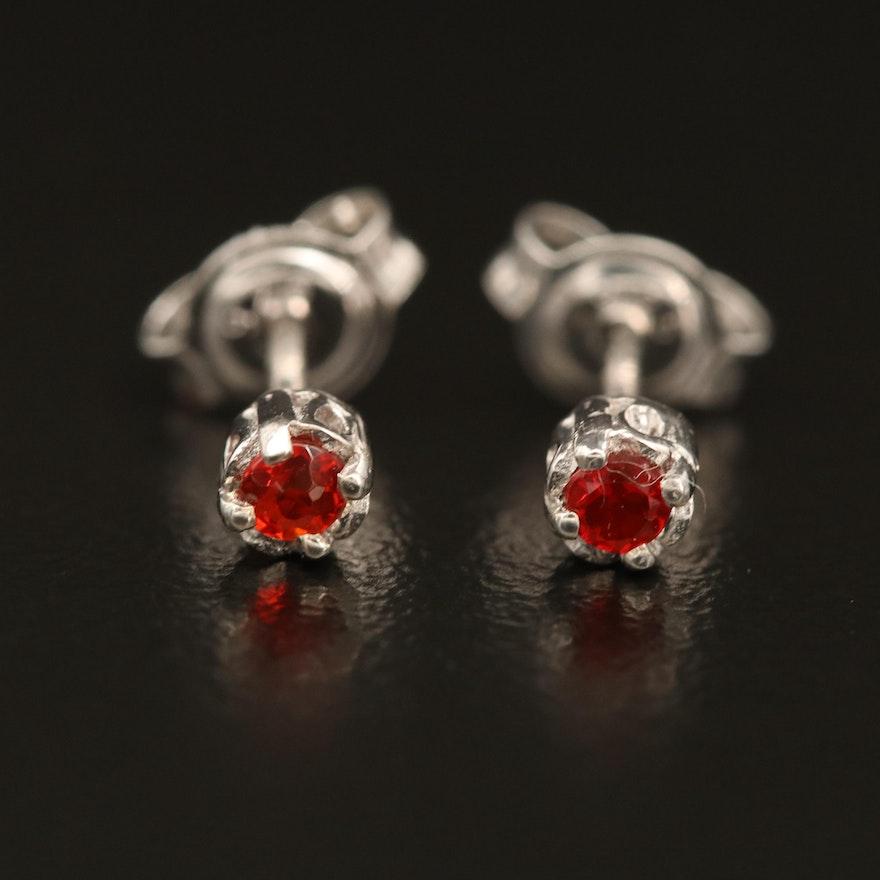 Sterling Fire Opal Solitaire Earrings