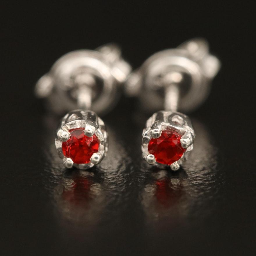 Sterling Fire Opal Solitaire Stud Earrings
