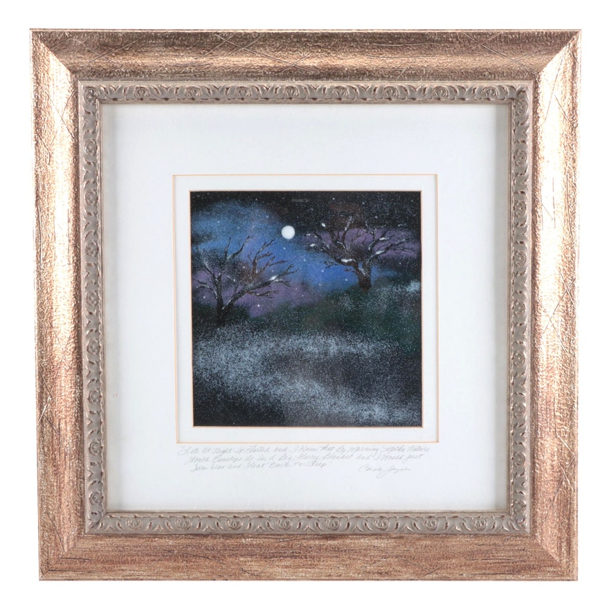 Carole Jayne Landscape Enamel Painting, Circa 2000