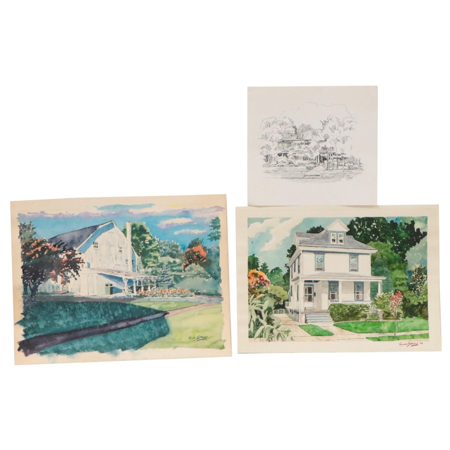William Stavely Watercolor Paintings and Ink Drawing of Houses
