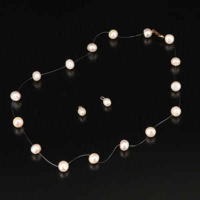 14K Pearl Station Necklace with 14K Pearl Earring Enhancers