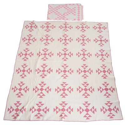 """Mary Vogele Handmade """"Handy Andy"""" and """"Double Irish Chain"""" Pieced Quilts"""