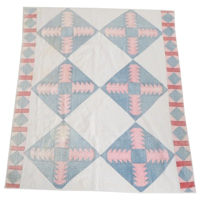 """Handmade """"The Old Rugged Cross"""" Variation Pieced Cotton Quilt, Mid-20th Century"""