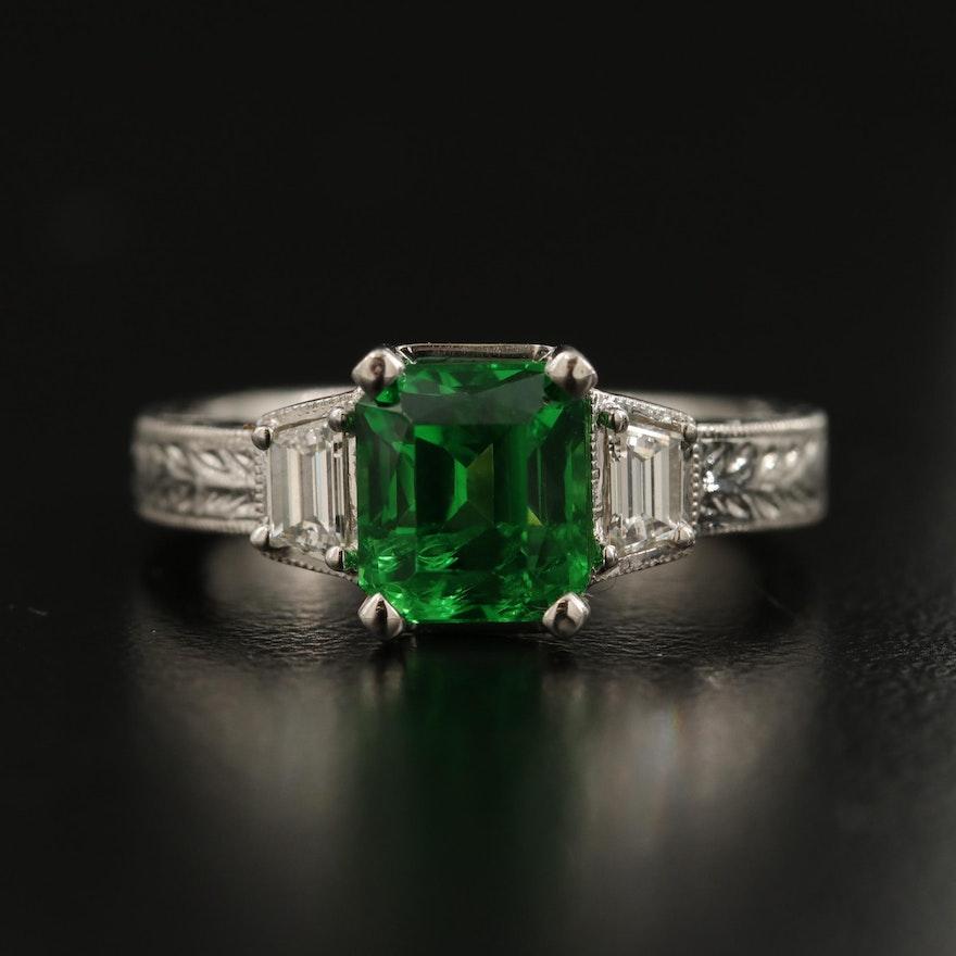 18K 3.16 CT Tsavorite and Diamond Ring