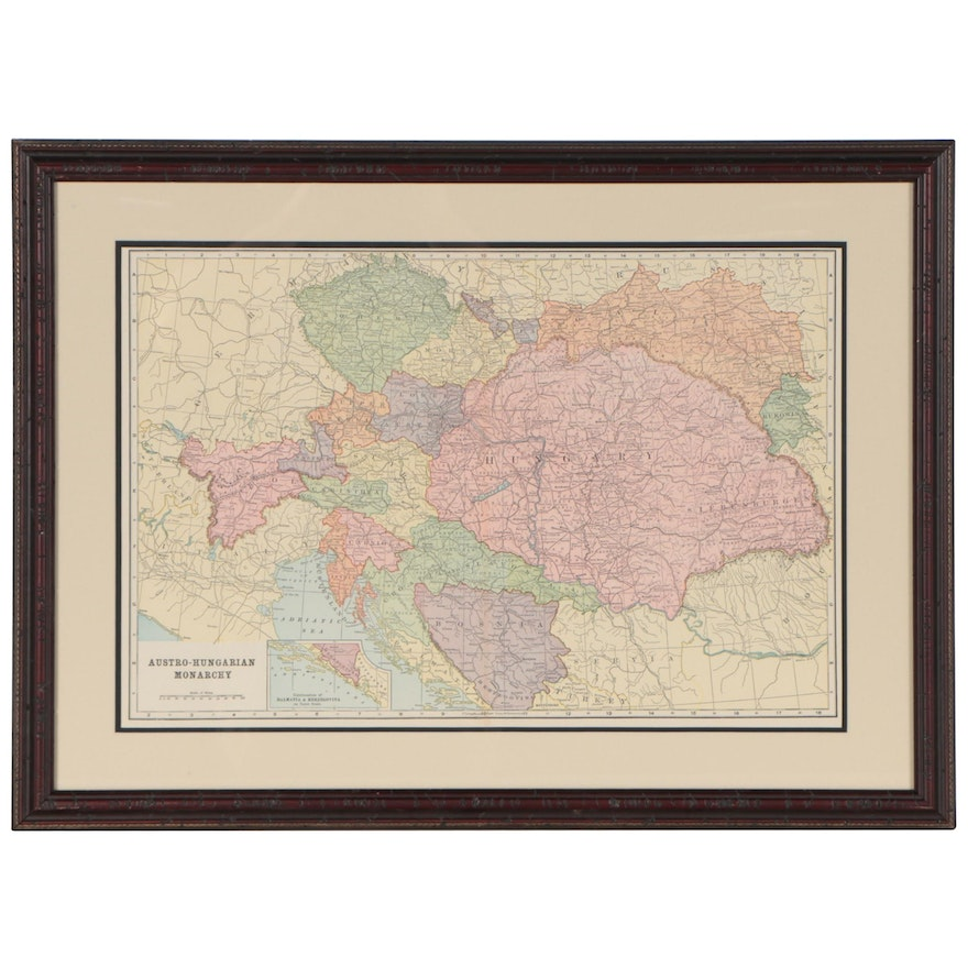 Wood Engraving Map of The Austro-Hungarian Monarchy, Early 20th Century