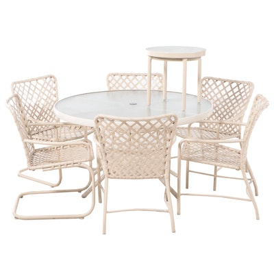 Brown Jordan Patio Table, Six Arm Chairs and End Table