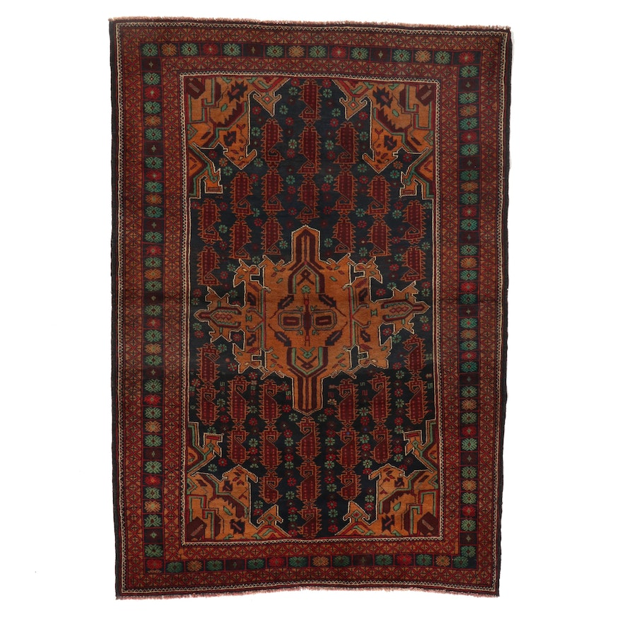 4' x 5'8 Hand-Knotted Afghan Baluch Area Rug