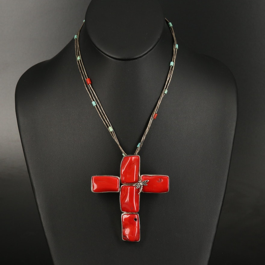 Sterling Liquid Silver Coral and Turquoise Cross Necklace