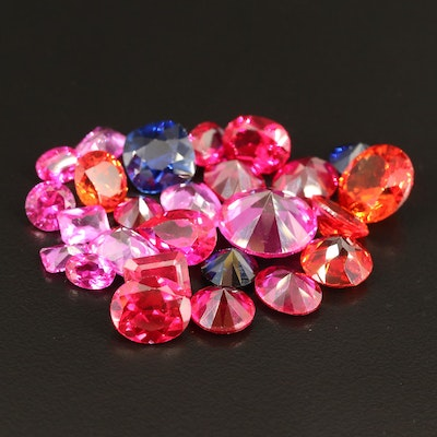 Loose Mixed Faceted Laboratory Grown Sapphires and Laboratory Grown Rubies