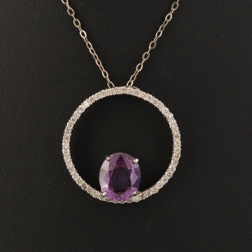 14K Sapphire and 1.02 CTW Diamond Circular Pendant Necklace