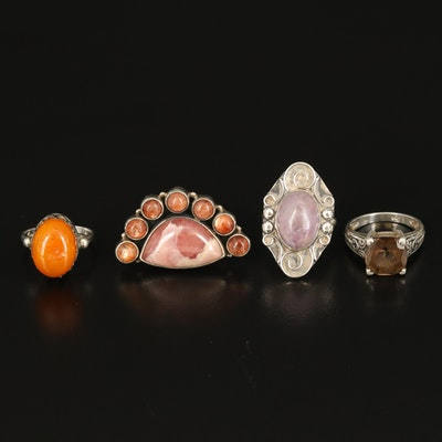 Sterling Rings Including Rhodochrosite, Sunstone and Smoky Quartz