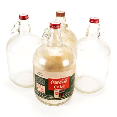 Coca-Cola Syrup Soda Fountain Refill Glass Gallons Jugs, Mid-20th Century
