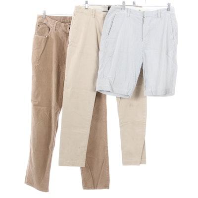 J. Crew Khakis and Seersucker Shorts with Jos. A. Bank Corduroy Pants