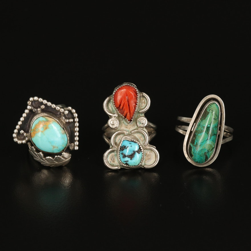 Southwestern Rings Including Turquoise and Coral