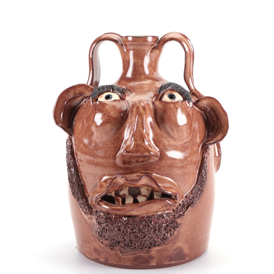 Pond Mountain Pottery Earthenware Face Jug, 2007