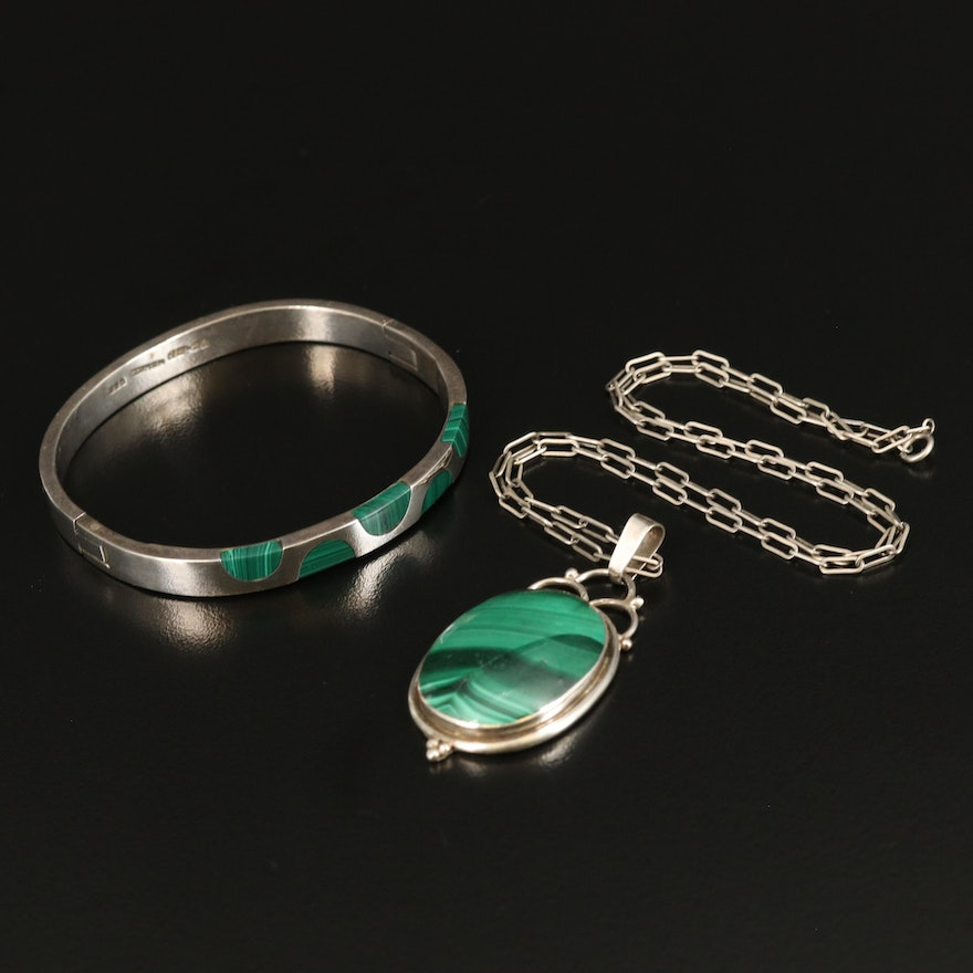 Sterling Silver Malachite Pendant Necklace and Hinged Bangle