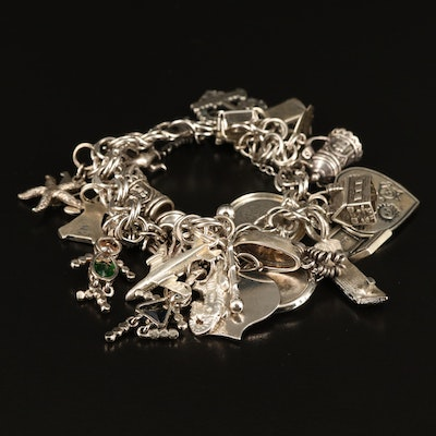 Sterling Charm Bracelet Featuring Articulated German Beer Stein Cup Charms