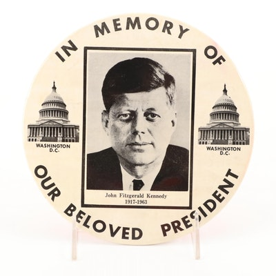 """John F. Kennedy """"In Memory of Our Beloved President"""" Button"""