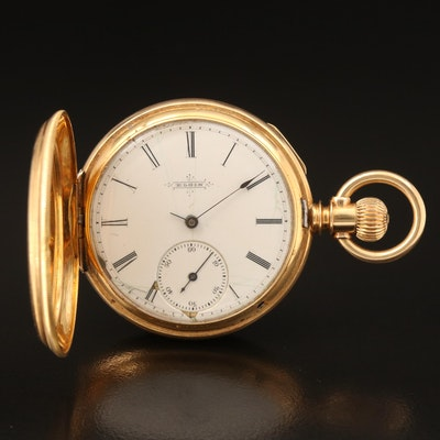 18K Elgin 1878 Enamelled Hunting Case Pocket Watch