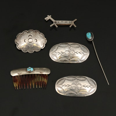 Southwestern Style Sterling and Turquoise Brooches, Pins and Hair Clip