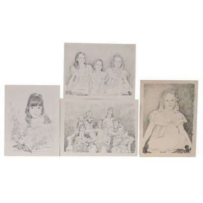 William Stavely Graphite Drawings and Halftone of Children, Late 20th Century
