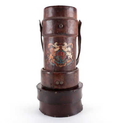 English Leather Cordite Bucket and Lidded Box, Mid-20th Century