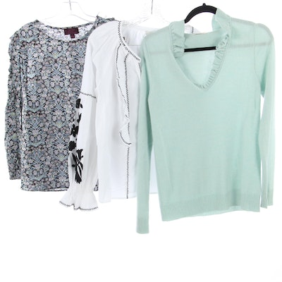 J. Crew Cashmere Sweater and Liberty Print Blouse with Joué Embroidered Shirt