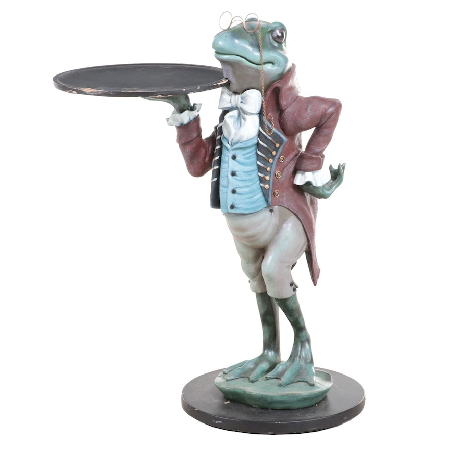 Costumed Frog Butler Accent Table