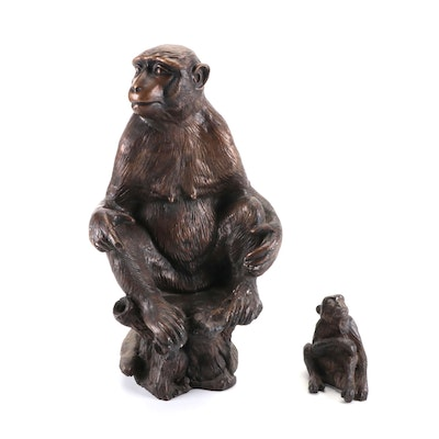 Bronze Figures of Seated Monkeys, Mid to Late 20th Century