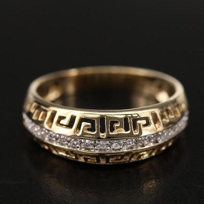 Sterling Silver Pierced Metal Greek Key Zircon Ring
