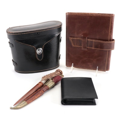 Tasco Binoculars, Antler-Handled Letter Opener, Leather Bound Notebook, and More