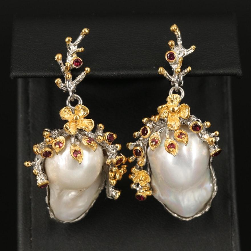 Sterling Silver Baroque Pearl Rhodolite Garnet Drop Earrings
