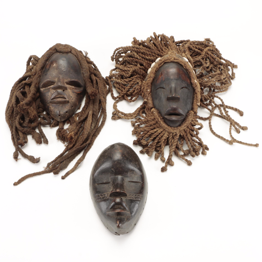 Dan Style Carved Wood Masks, West Africa