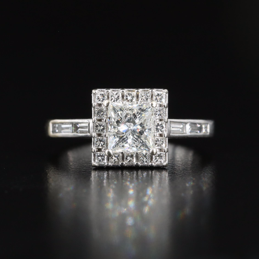 14K Square 1.76 CTW Diamond Ring with Channel Set Shoulders