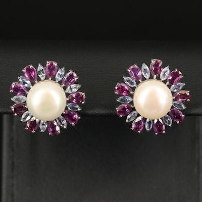 Sterling Pearl, Tanzanite and Rhodolite Garnet Earrings