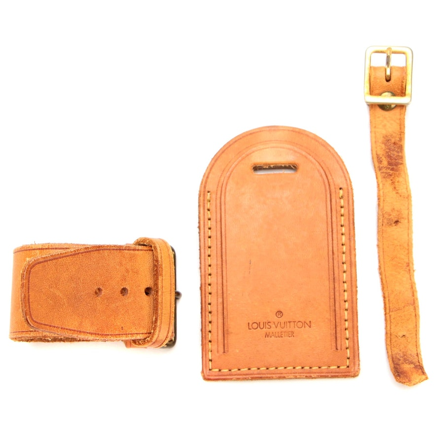 Louis Vuitton Malletier Poignet and Luggage Tag Set in Vachetta Leather