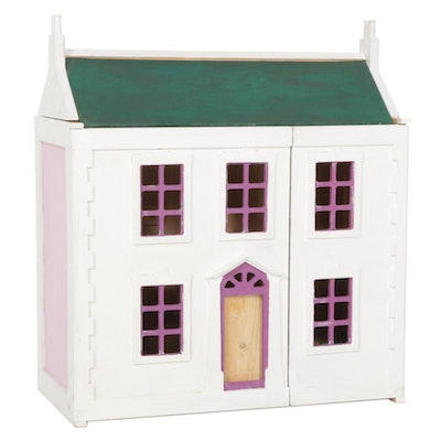 Hand-Painted Wooden Doll House and Furniture