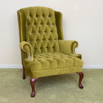 Queen Anne Style Tufted Avocado Green Wingback Chair