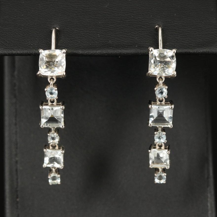 Sterling Graduated Aquamarine Earrings