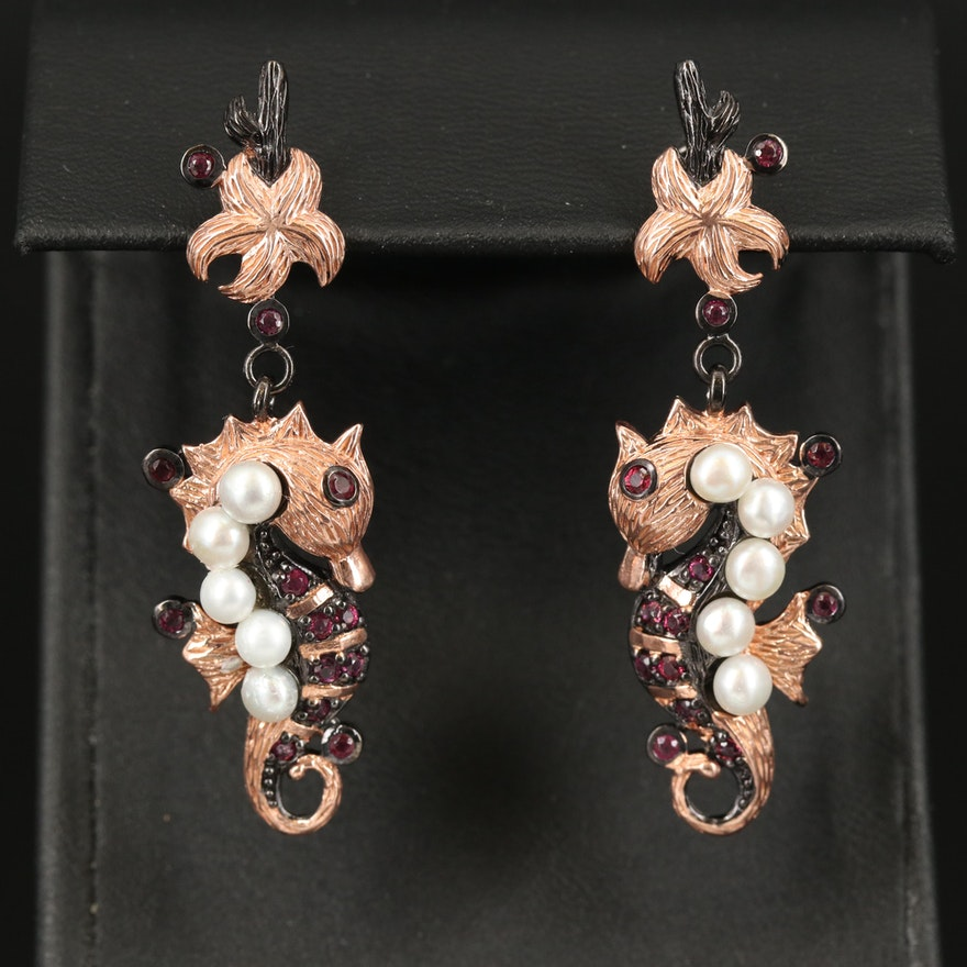 Sterling Pearl and Rhodolite Garnet Seahorse and Starfish Earrings