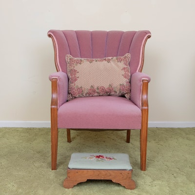Channel-Back Upholstered Armchair, Pillow and Footstool, 1940s