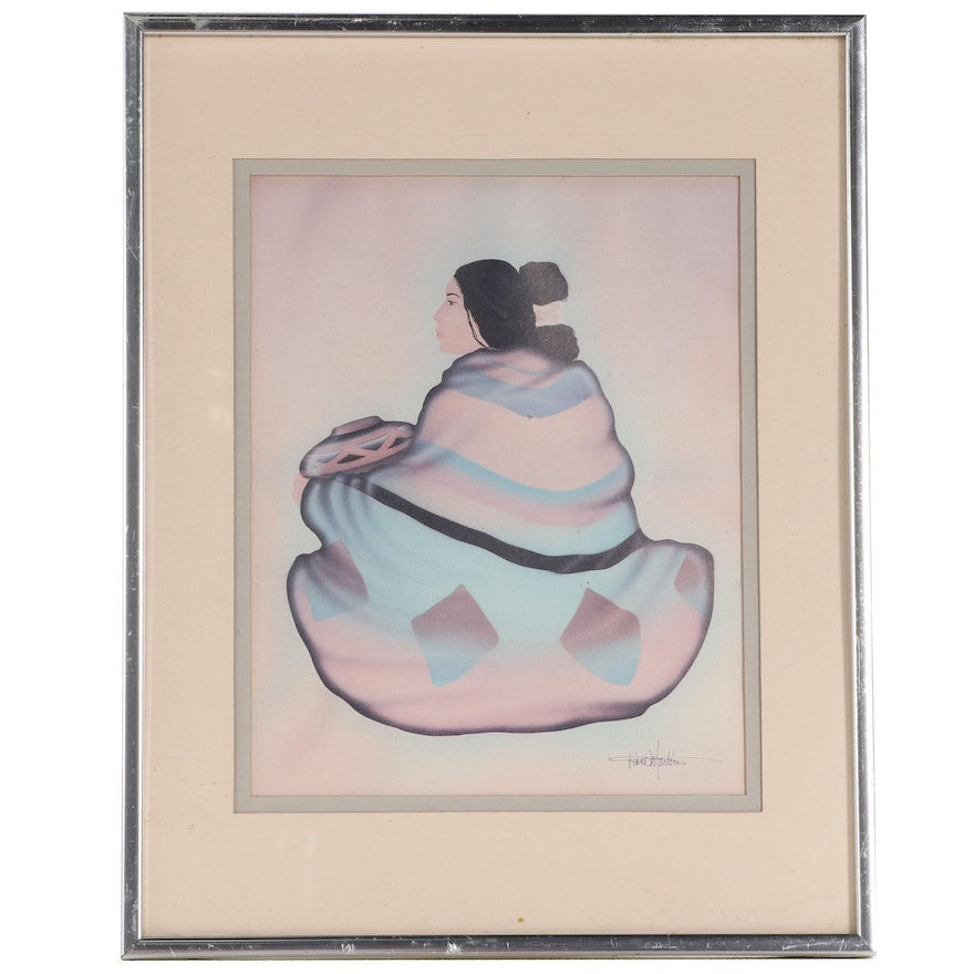 Figural Offset Lithograph After Diana Martin, Late 20th Century