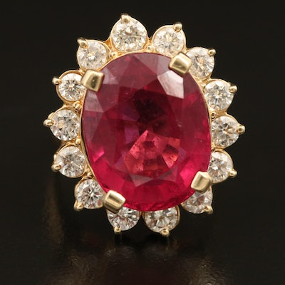 14K 12.67 CT Rubellite Tourmaline and 1.89 CTW Diamond Ring with GIA Report