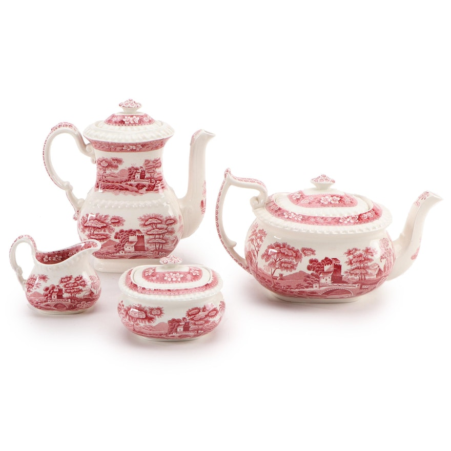 """Spode """"Tower Pink"""" Porcelain Tea and Coffee Service, Early to Mid 20th Century"""