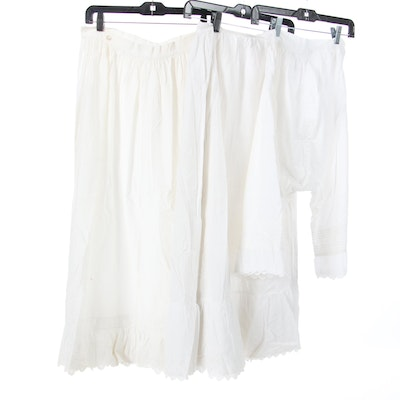 Cotton Underpinnings with Embroidery and Eyelet Hem Detail