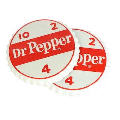 Pair of Giant Dr. Pepper Bottle Cap Advertising Signs